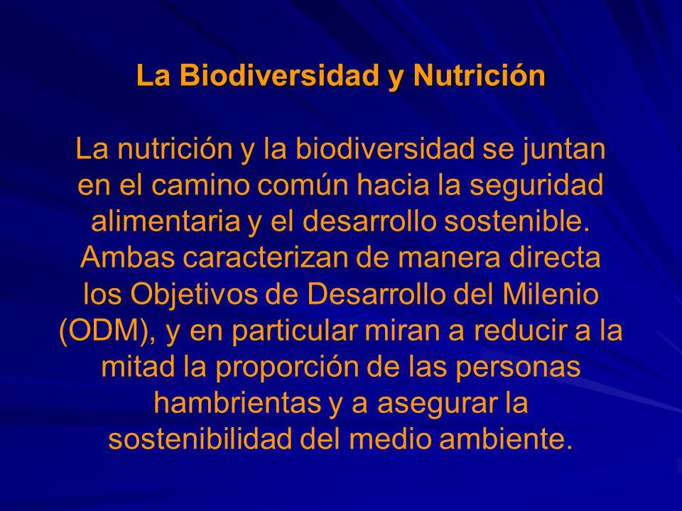 La Biodiversidad y Nutrición La Biodiversidad y Nutrición La nutrición y la biodiversidad se juntan en el camino común hacia la seguridad alimentaria y el desarrollo sostenible.