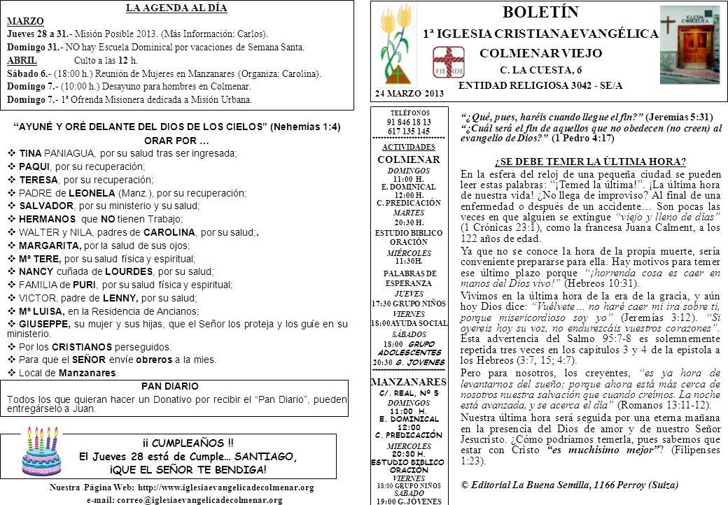 LA AGENDA AL DÍA MARZO Jueves 28 a 31.- Misión Posible 2013.