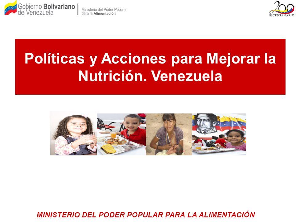 Políticas y Acciones para Mejorar la Nutrición. Venezuela MINISTERIO DEL PODER POPULAR PARA LA ALIMENTACIÓN
