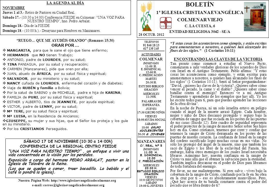 LA AGENDA AL DÍA NOVIEMBRE Jueves 1 al 3.- Retiro de Pastores en Ciudad Real.
