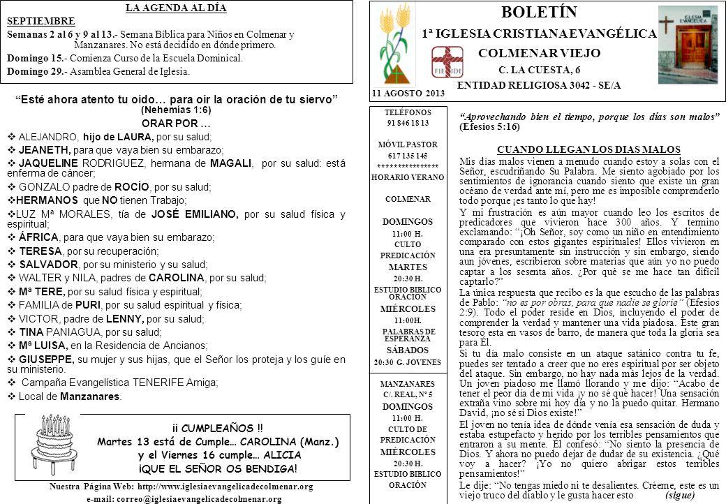 LA AGENDA AL DÍA SEPTIEMBRE Semanas 2 al 6 y 9 al 13.- Semana Bíblica para Niños en Colmenar y Manzanares.