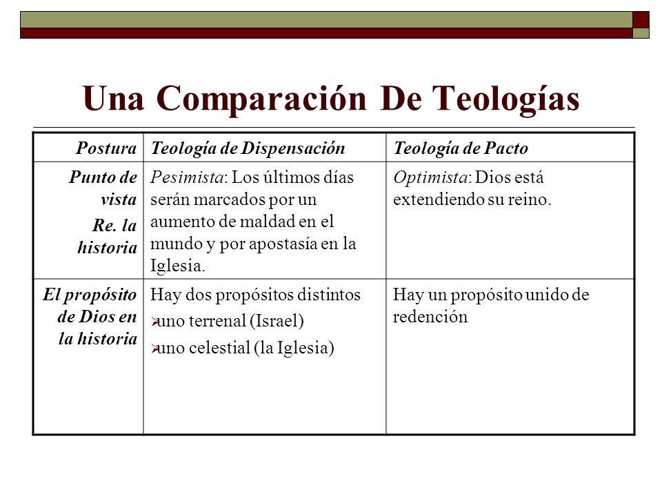 Una Comparación De Teologías PosturaTeología de DispensaciónTeología de Pacto Puntos de vista Re.
