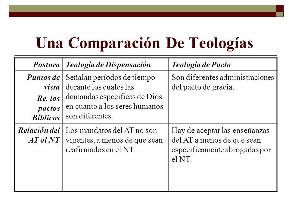 Una Comparación De Teologías PosturaTeología de DispensaciónTeología de Pacto Puntos de vista Re. los pactos Bíblicos Señalan períodos de tiempo duran