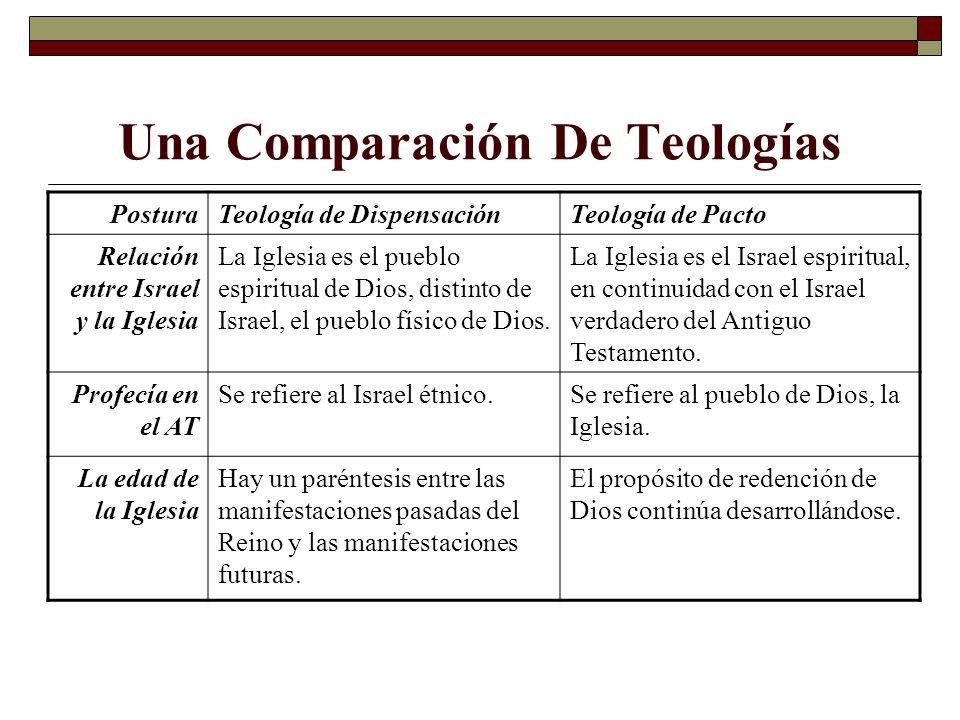 Una Comparación De Teologías PosturaTeología de DispensaciónTeología de Pacto Relación entre Israel y la Iglesia La Iglesia es el pueblo espiritual de