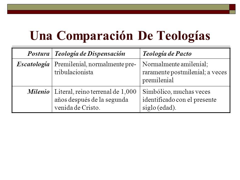 Una Comparación De Teologías PosturaTeología de DispensaciónTeología de Pacto EscatologíaPremilenial, normalmente pre- tribulacionista Normalmente ami