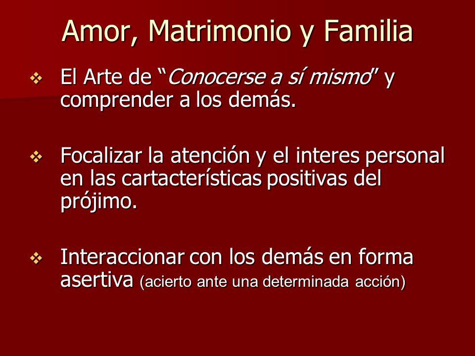 Amor, Matrimonio y Familia El Arte de Conocerse a sí mismo y comprender a los demás. El Arte de Conocerse a sí mismo y comprender a los demás. Focaliz