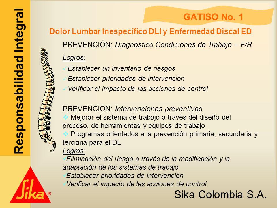 Sika Colombia S.A. Responsabilidad Integral GATISO No. 1 Dolor Lumbar Inespecífico DLI y Enfermedad Discal ED PREVENCIÓN: Diagnóstico Condiciones de T