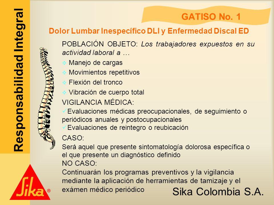 Sika Colombia S.A. Responsabilidad Integral GATISO No. 1 Dolor Lumbar Inespecífico DLI y Enfermedad Discal ED POBLACIÓN OBJETO: Los trabajadores expue