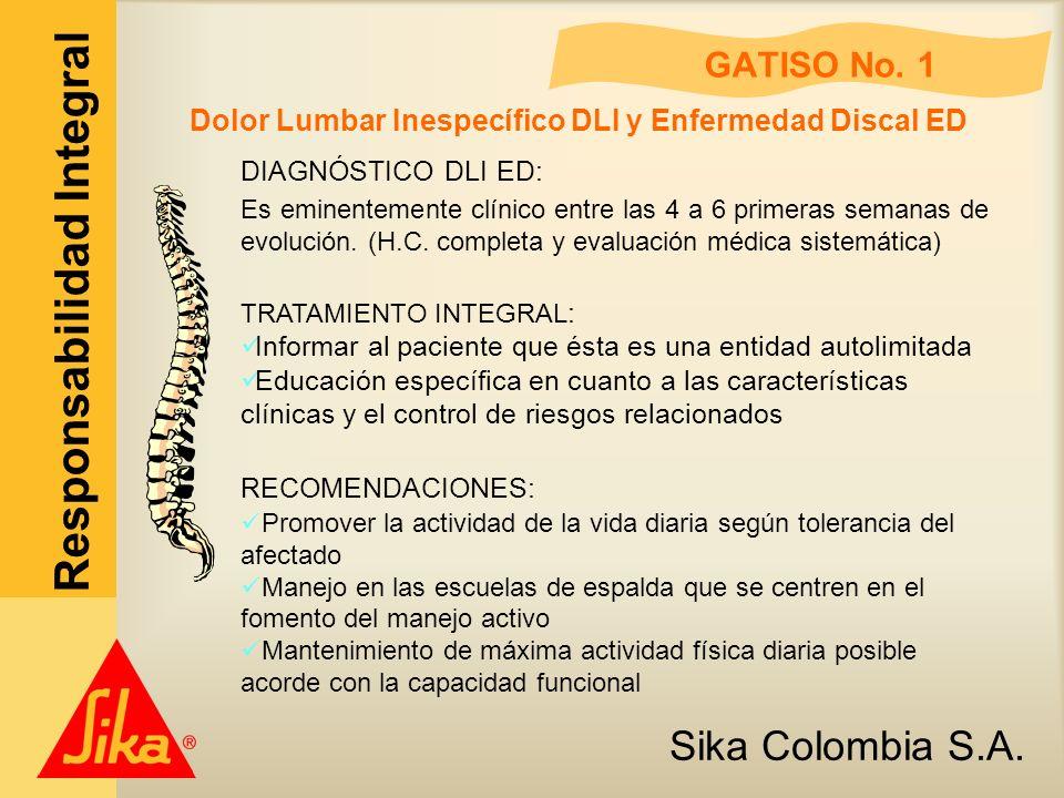 Sika Colombia S.A. Responsabilidad Integral GATISO No. 1 Dolor Lumbar Inespecífico DLI y Enfermedad Discal ED DIAGNÓSTICO DLI ED: Es eminentemente clí