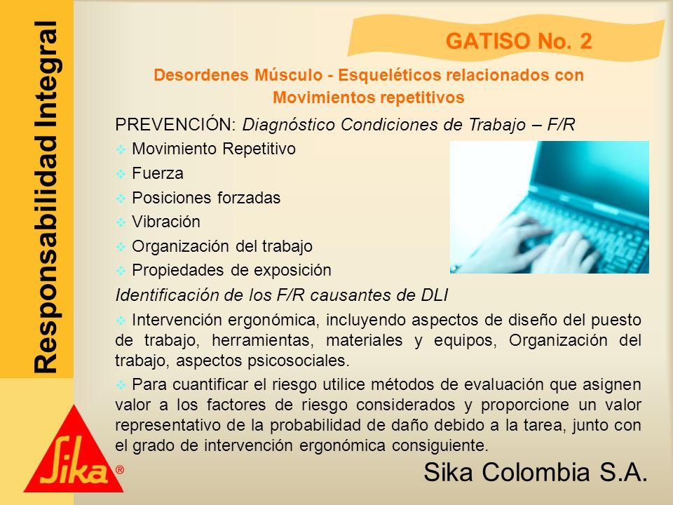Sika Colombia S.A. Responsabilidad Integral GATISO No. 2 Desordenes Músculo - Esqueléticos relacionados con Movimientos repetitivos PREVENCIÓN: Diagnó