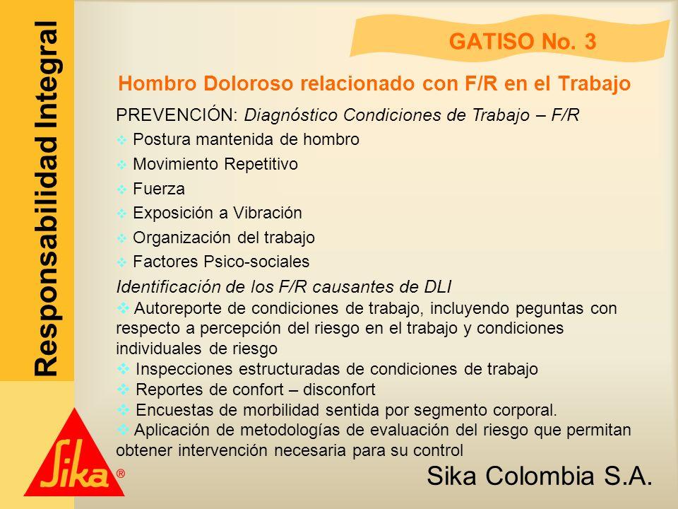 Sika Colombia S.A. Responsabilidad Integral GATISO No. 3 Hombro Doloroso relacionado con F/R en el Trabajo PREVENCIÓN: Diagnóstico Condiciones de Trab