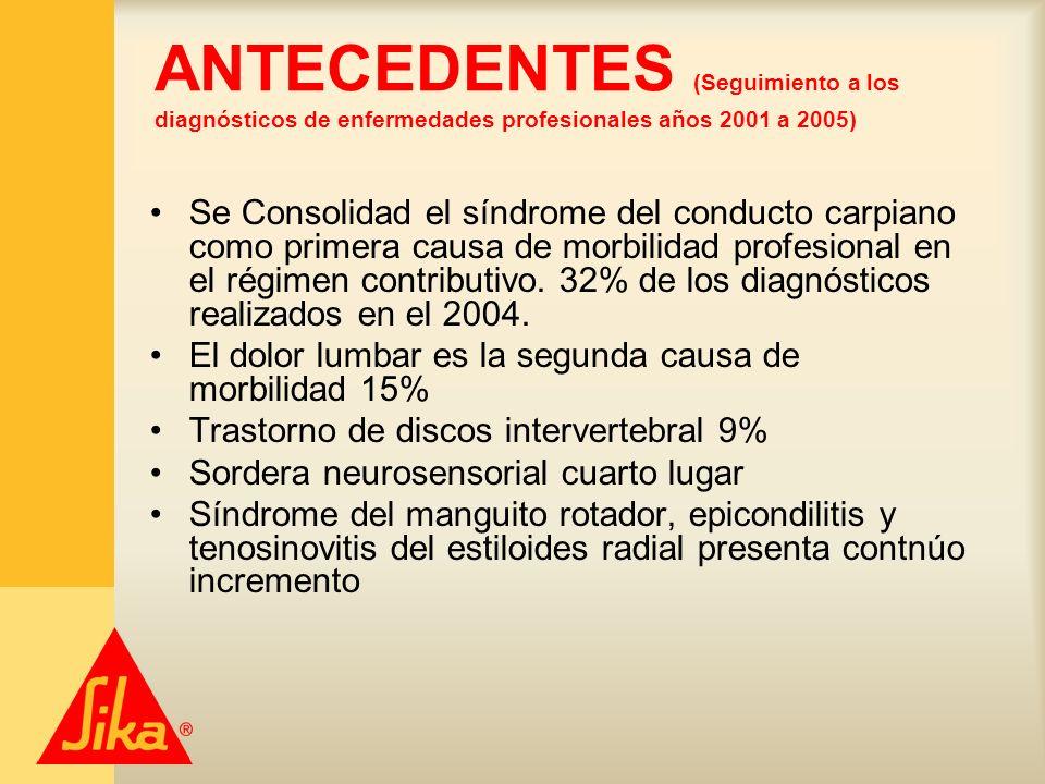 ANTECEDENTES (Seguimiento a los diagnósticos de enfermedades profesionales años 2001 a 2005) Se Consolidad el síndrome del conducto carpiano como prim