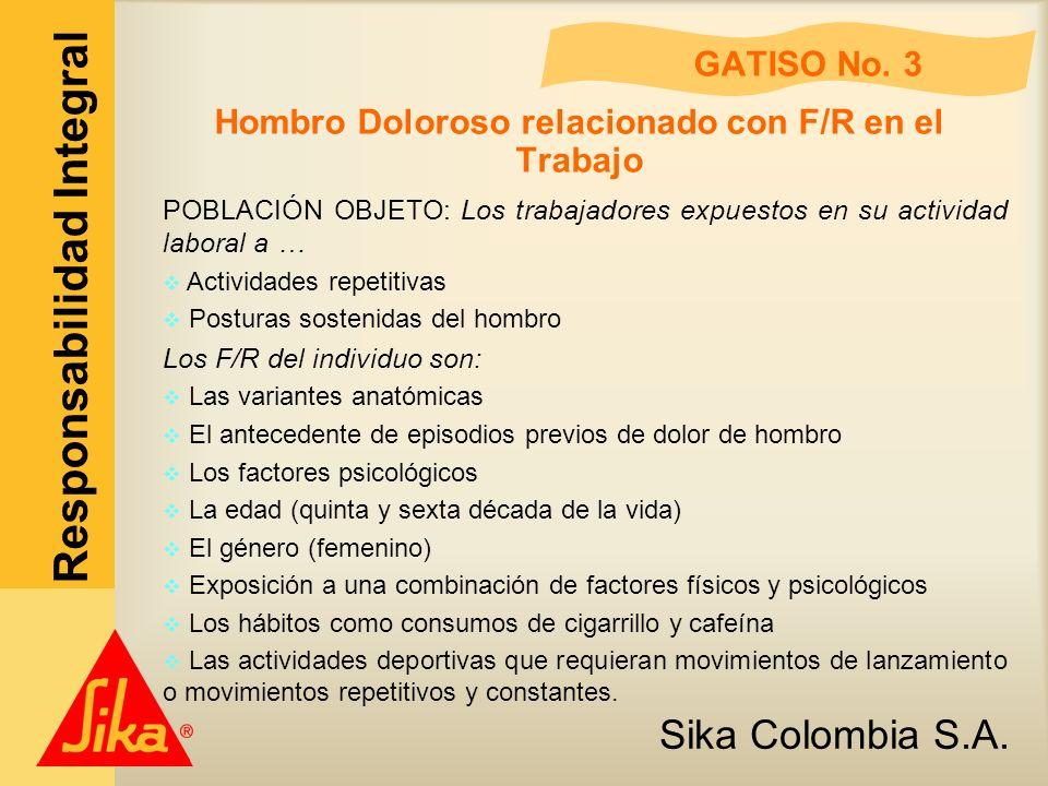 Sika Colombia S.A. Responsabilidad Integral GATISO No. 3 Hombro Doloroso relacionado con F/R en el Trabajo POBLACIÓN OBJETO: Los trabajadores expuesto