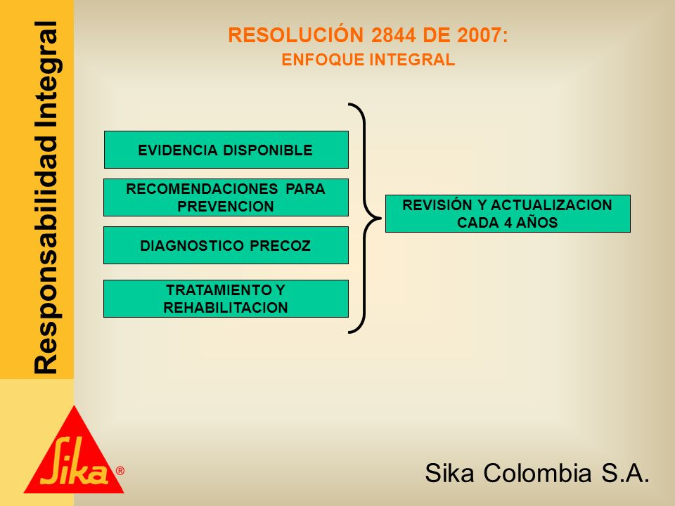 Sika Colombia S.A. Responsabilidad Integral RESOLUCIÓN 2844 DE 2007: ENFOQUE INTEGRAL EVIDENCIA DISPONIBLE RECOMENDACIONES PARA PREVENCION DIAGNOSTICO