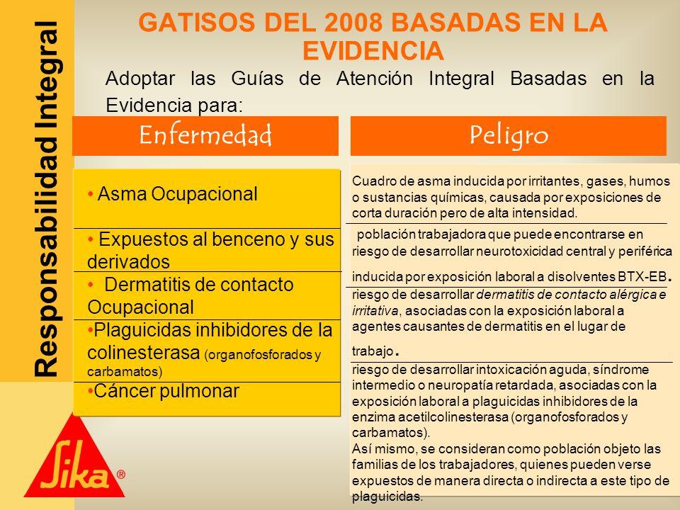 Sika Colombia S.A. Responsabilidad Integral GATISOS DEL 2008 BASADAS EN LA EVIDENCIA Adoptar las Guías de Atención Integral Basadas en la Evidencia pa