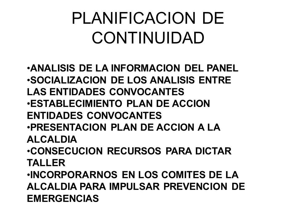PLANIFICACION DE CONTINUIDAD ANALISIS DE LA INFORMACION DEL PANEL SOCIALIZACION DE LOS ANALISIS ENTRE LAS ENTIDADES CONVOCANTES ESTABLECIMIENTO PLAN D