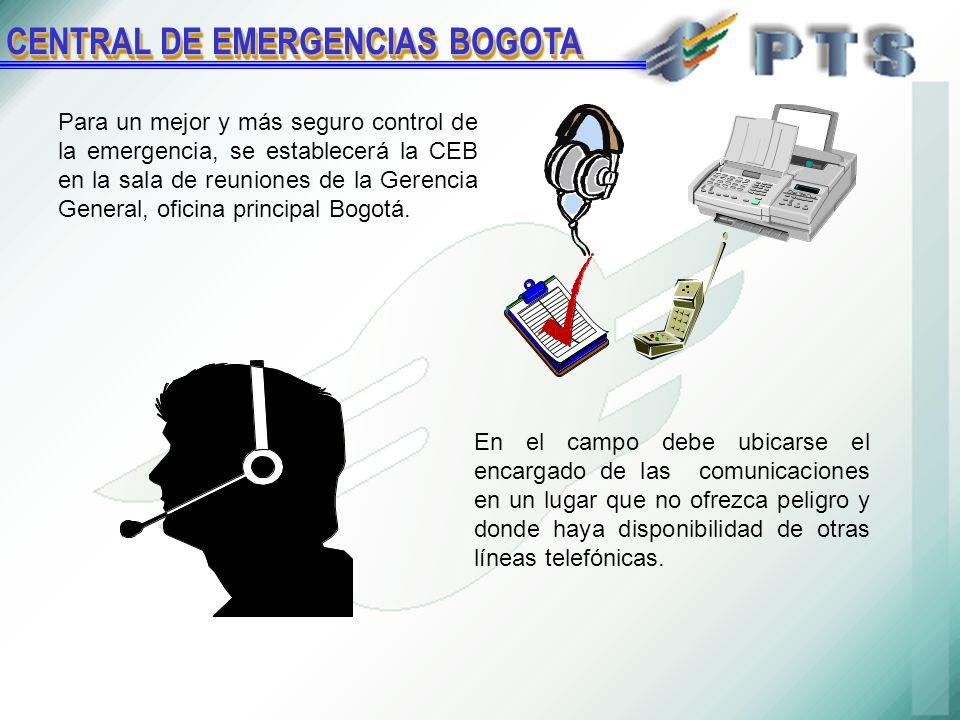 Para un mejor y más seguro control de la emergencia, se establecerá la CEB en la sala de reuniones de la Gerencia General, oficina principal Bogotá.