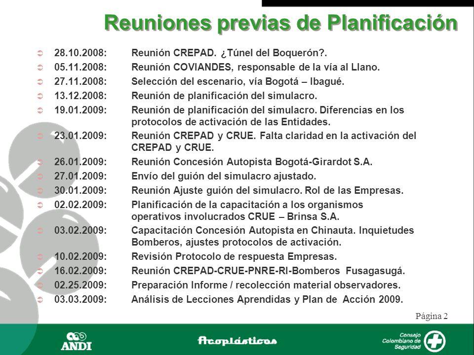 Página 2 Reuniones previas de Planificación 28.10.2008: Reunión CREPAD. ¿Túnel del Boquerón?. 05.11.2008: Reunión COVIANDES, responsable de la vía al