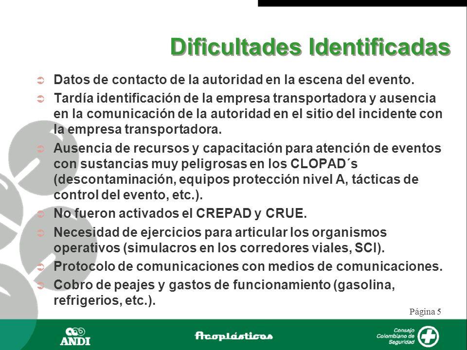 Página 5 Dificultades Identificadas Datos de contacto de la autoridad en la escena del evento. Tardía identificación de la empresa transportadora y au