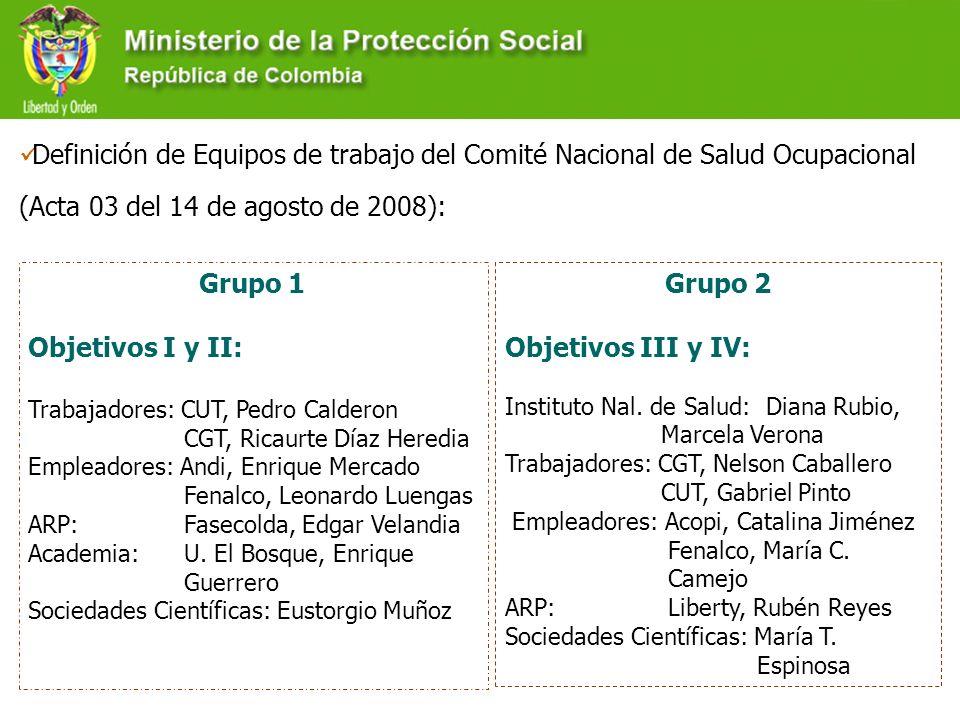 Definición de Equipos de trabajo del Comité Nacional de Salud Ocupacional (Acta 03 del 14 de agosto de 2008): Grupo 1 Objetivos I y II: Trabajadores: