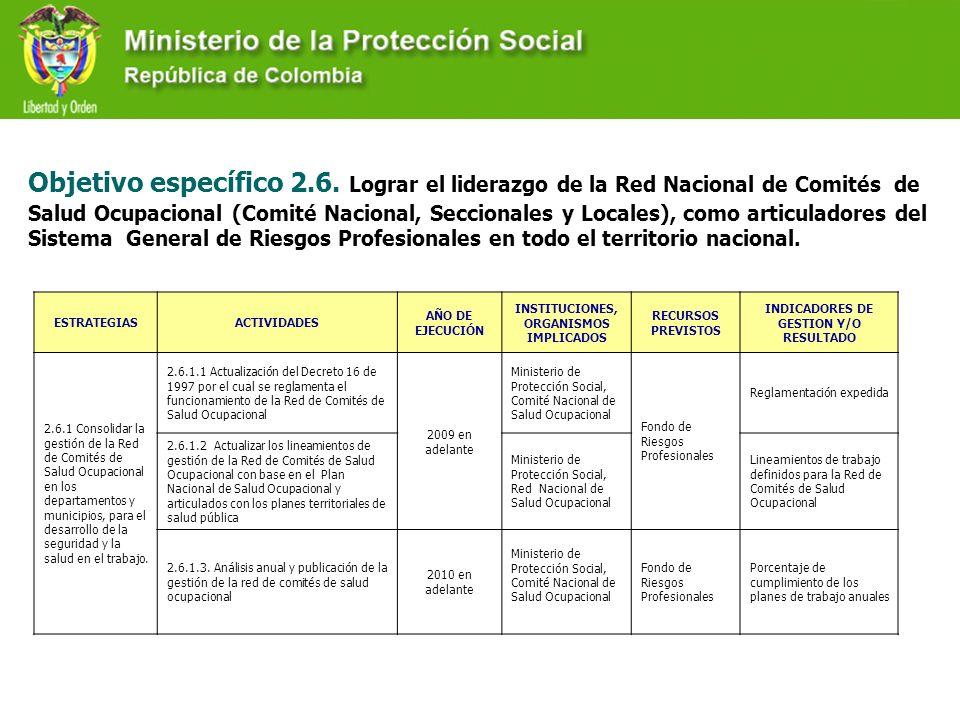 Objetivo específico 2.6. Lograr el liderazgo de la Red Nacional de Comités de Salud Ocupacional (Comité Nacional, Seccionales y Locales), como articul