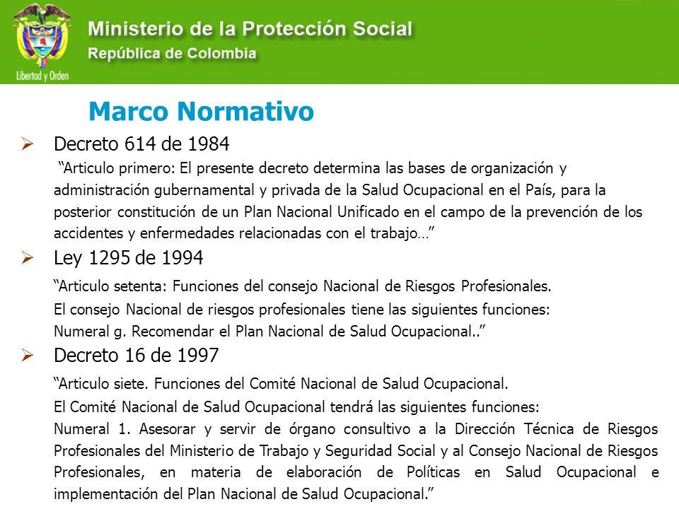 Decreto 205 de 2003 … es función de la Dirección General de Riesgos Profesionales del Ministerio de la Protección Social diseñar las políticas, normas, estrategias, programas y proyectos para el desarrollo del sistema general de riesgos profesionales.