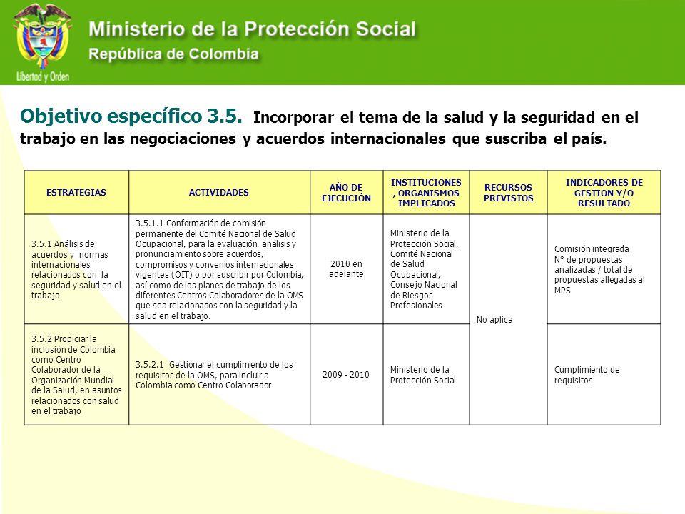 Objetivo específico 3.5. Incorporar el tema de la salud y la seguridad en el trabajo en las negociaciones y acuerdos internacionales que suscriba el p