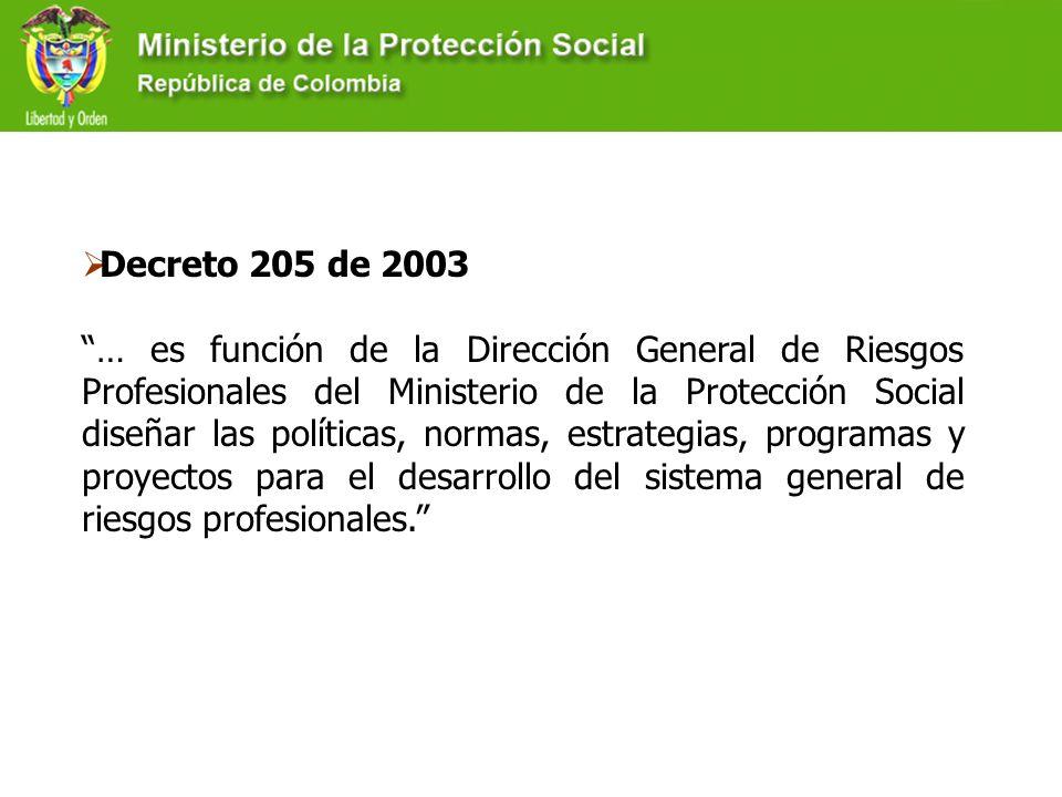 Decreto 205 de 2003 … es función de la Dirección General de Riesgos Profesionales del Ministerio de la Protección Social diseñar las políticas, normas