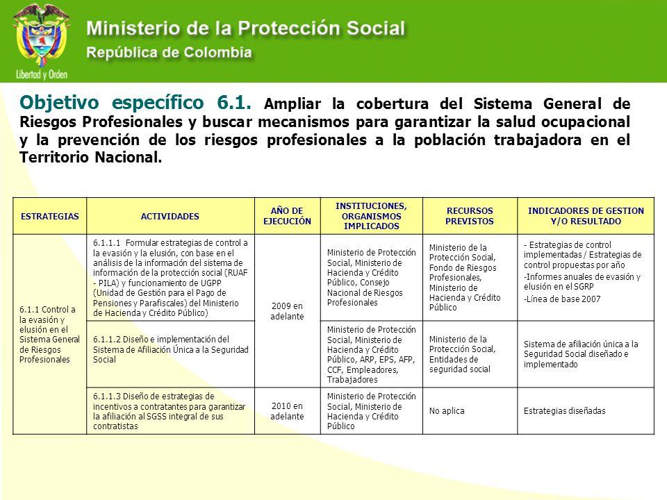 Objetivo específico 6.1. Ampliar la cobertura del Sistema General de Riesgos Profesionales y buscar mecanismos para garantizar la salud ocupacional y