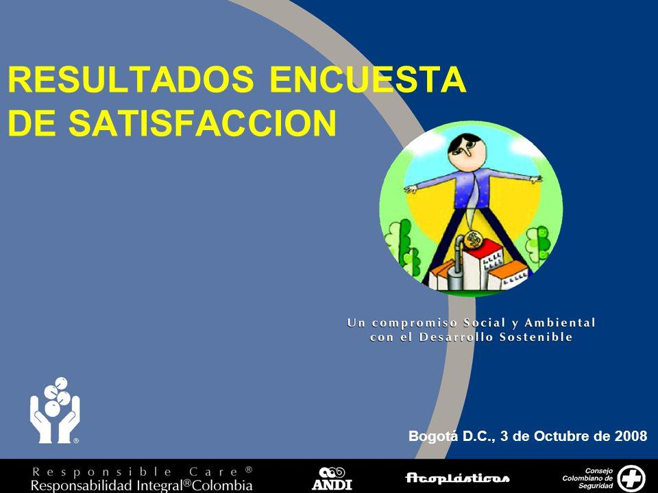 1 RESULTADOS ENCUESTA DE SATISFACCION Bogotá D.C., 3 de Octubre de 2008