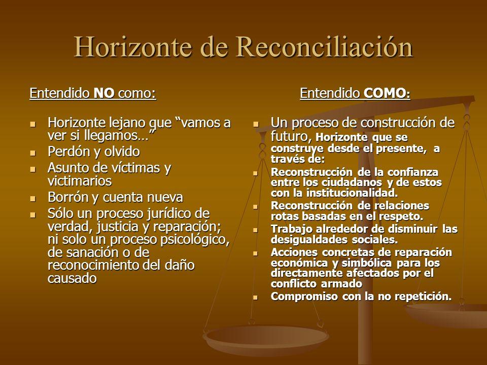 La reconciliación es entonces un proceso social de reconstrucción colectiva del territorio con visión compartida de futuro, en un proceso de convivencia que garantice la no repetición de la violencia.