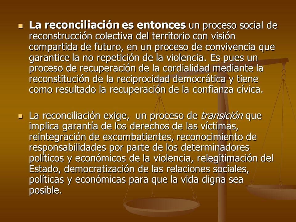 VISIÓN DE RECONCILIACIÓN DEL MUNICIPIO DE EL PEÑOL: En el 2020 el municipio de el peñol, será un municipio que avanza en un proceso de reconciliación a través de: El respeto y garantía de los derechos de las víctimas a la verdad, justicia y reparación.
