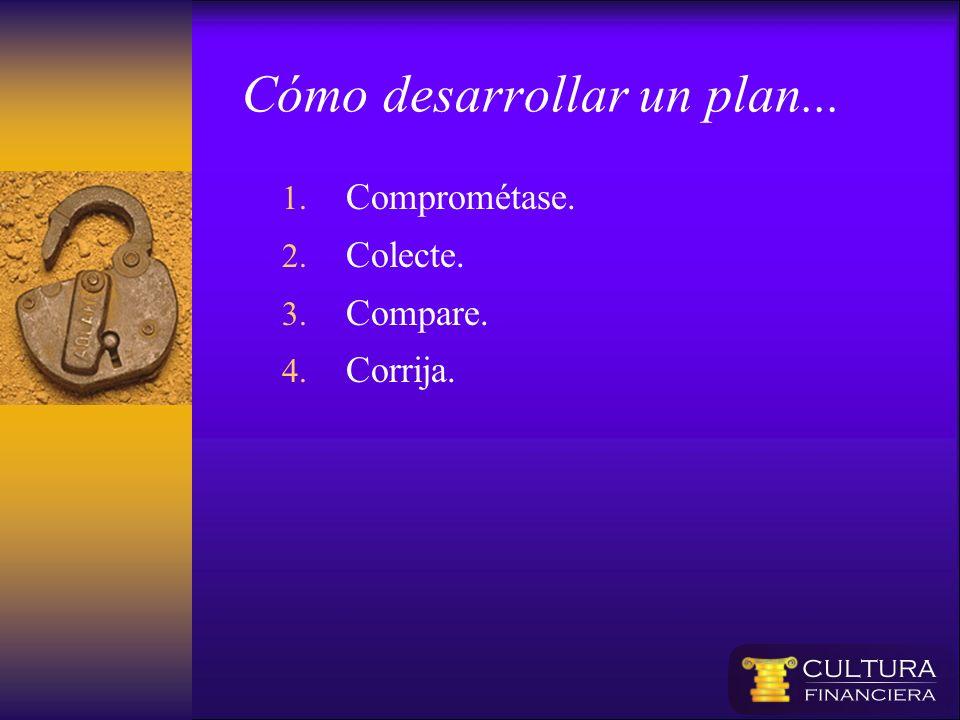 Cómo desarrollar un plan... 1. Comprométase. 2. Colecte. 3. Compare. 4. Corrija.