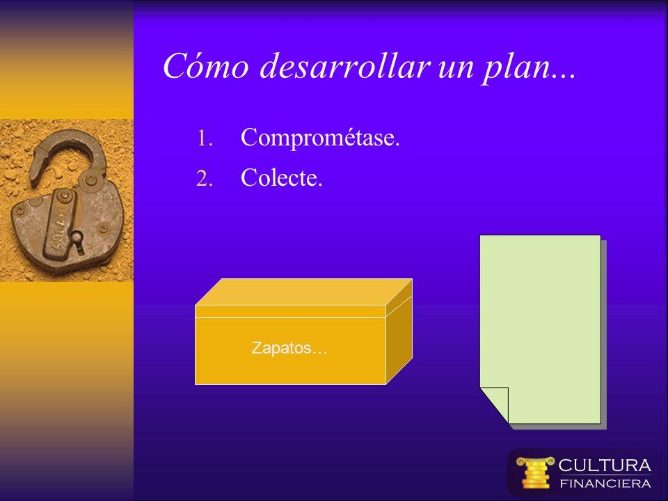 1. Comprométase. 2. Colecte. Zapatos… Cómo desarrollar un plan...