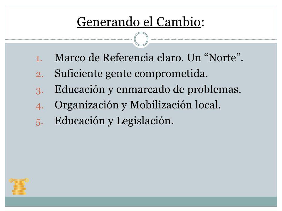 Generando el Cambio: 1. Marco de Referencia claro. Un Norte. 2. Suficiente gente comprometida. 3. Educación y enmarcado de problemas. 4. Organización