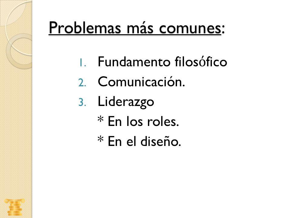 Problemas más comunes: 1. Fundamento filos fico 2. Comunicación. 3. Liderazgo * En los roles. * En el diseño.