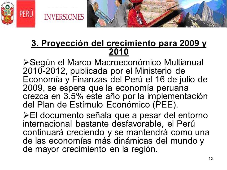 13 3. Proyección del crecimiento para 2009 y 2010 Según el Marco Macroeconómico Multianual 2010-2012, publicada por el Ministerio de Economía y Finanz