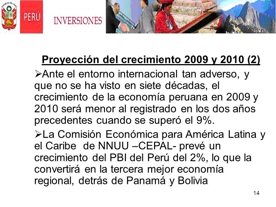 14 Proyección del crecimiento 2009 y 2010 (2) Ante el entorno internacional tan adverso, y que no se ha visto en siete décadas, el crecimiento de la e