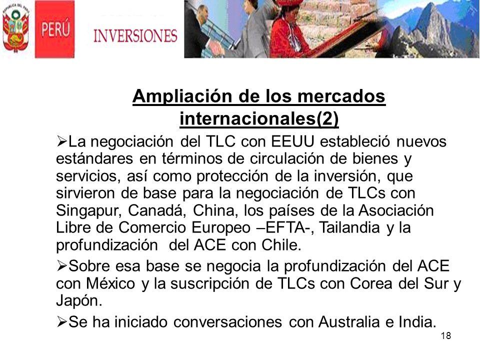 18 Ampliación de los mercados internacionales(2) La negociación del TLC con EEUU estableció nuevos estándares en términos de circulación de bienes y s