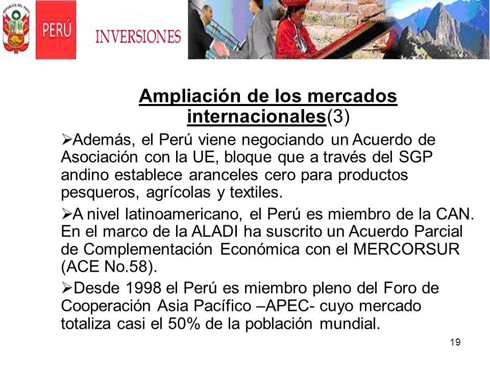 19. Ampliación de los mercados internacionales(3) Además, el Perú viene negociando un Acuerdo de Asociación con la UE, bloque que a través del SGP and