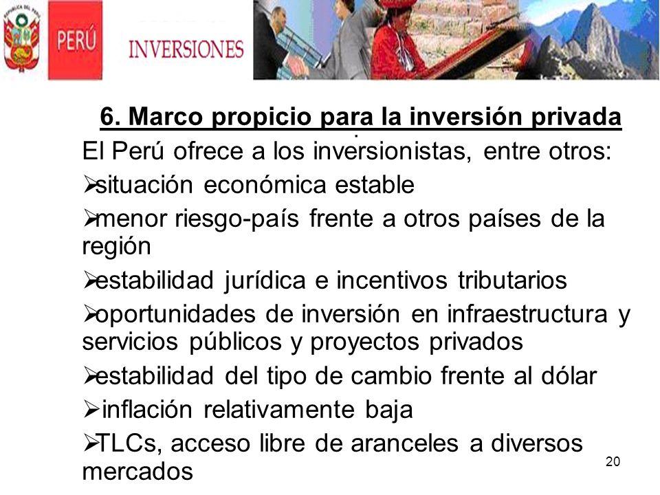 20. 6. Marco propicio para la inversión privada El Perú ofrece a los inversionistas, entre otros: situación económica estable menor riesgo-país frente