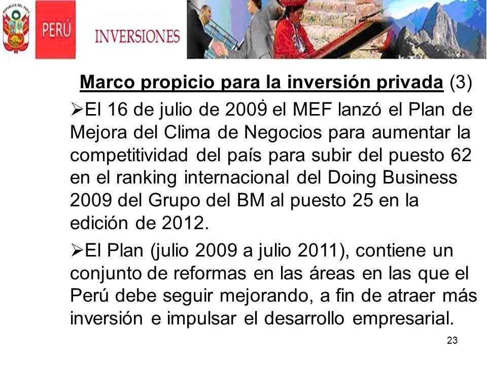 23. Marco propicio para la inversión privada (3) El 16 de julio de 2009 el MEF lanzó el Plan de Mejora del Clima de Negocios para aumentar la competit