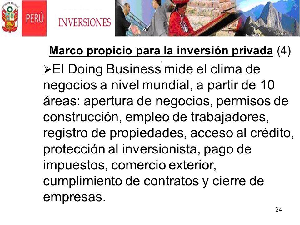 24. Marco propicio para la inversión privada (4) El Doing Business mide el clima de negocios a nivel mundial, a partir de 10 áreas: apertura de negoci
