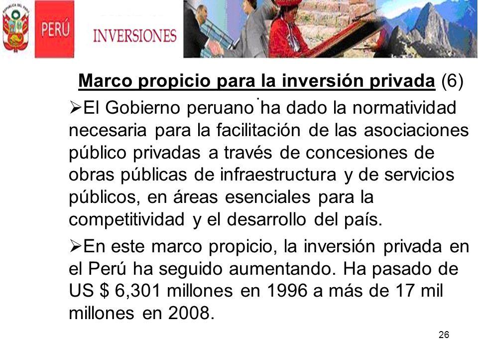 26. Marco propicio para la inversión privada (6) El Gobierno peruano ha dado la normatividad necesaria para la facilitación de las asociaciones públic