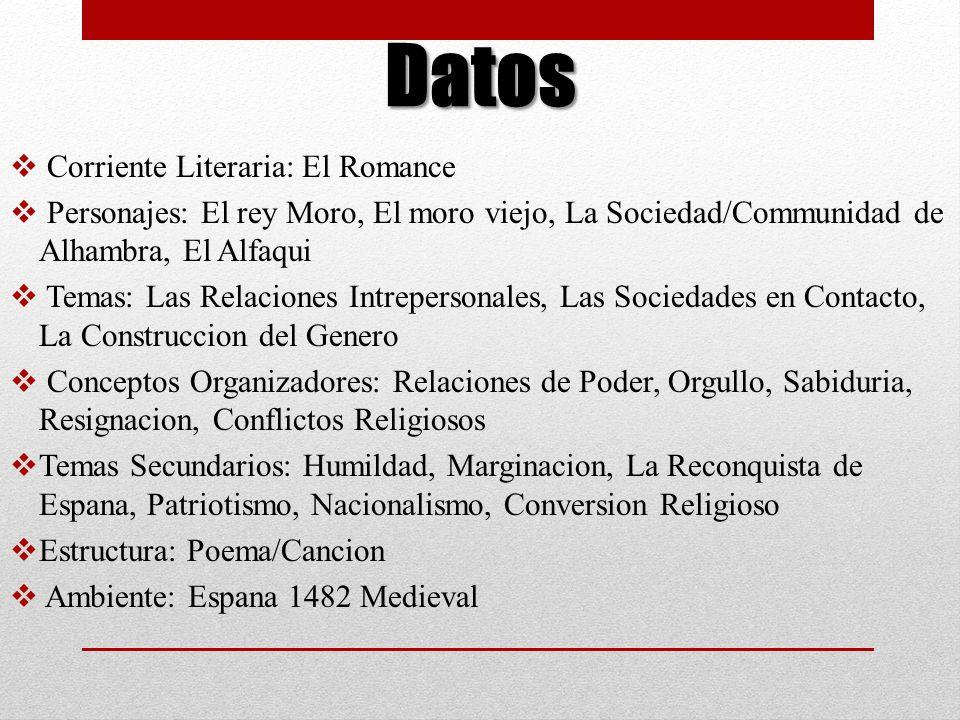 Datos Corriente Literaria: El Romance Personajes: El rey Moro, El moro viejo, La Sociedad/Communidad de Alhambra, El Alfaqui Temas: Las Relaciones Int