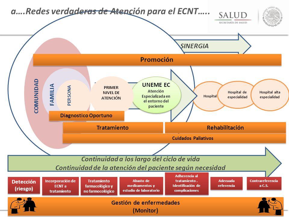 SINERGIA COMUNIDAD FAMILIA PERSONA Hospital Hospital de especialidad Hospital alta especialidad Continuidad a los largo del ciclo de vida Continuidad