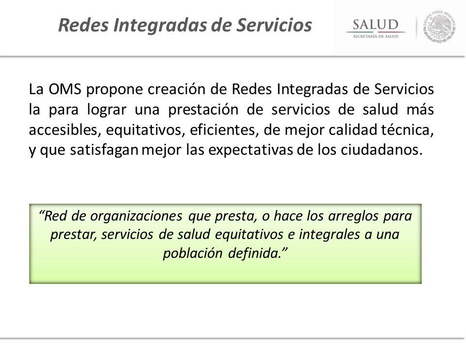 La OMS propone creación de Redes Integradas de Servicios la para lograr una prestación de servicios de salud más accesibles, equitativos, eficientes,