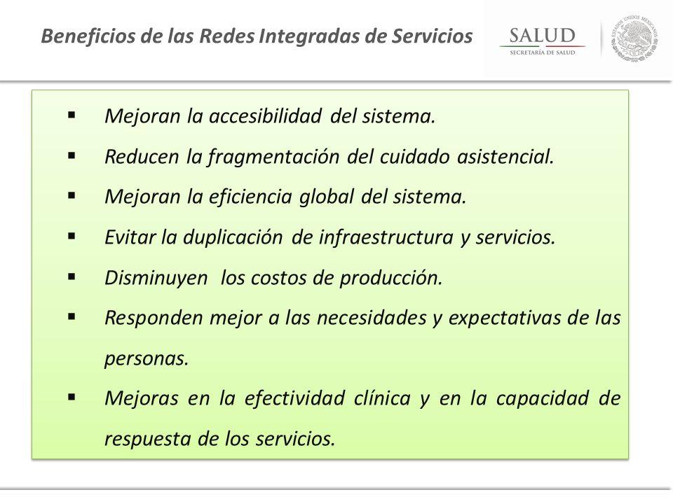 Mejoran la accesibilidad del sistema. Reducen la fragmentación del cuidado asistencial. Mejoran la eficiencia global del sistema. Evitar la duplicació