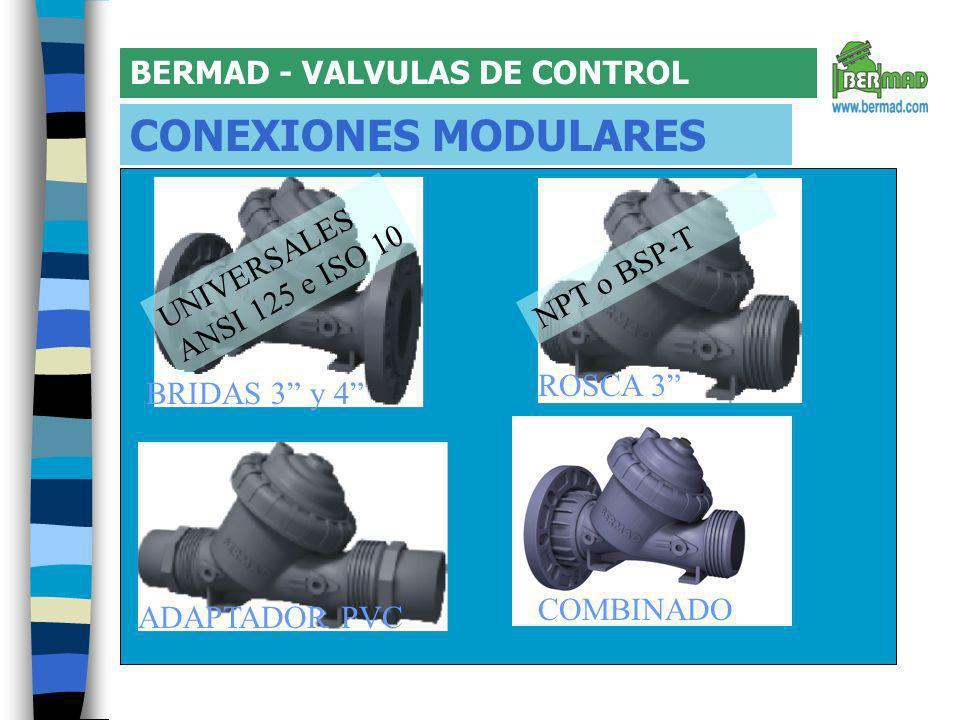 BERMAD - VALVULAS DE CONTROL CONEXIONES MODULARES BRIDAS 3 y 4 ADAPTADOR PVC ROSCA 3 COMBINADO UNIVERSALES ANSI 125 e ISO 10 NPT o BSP-T