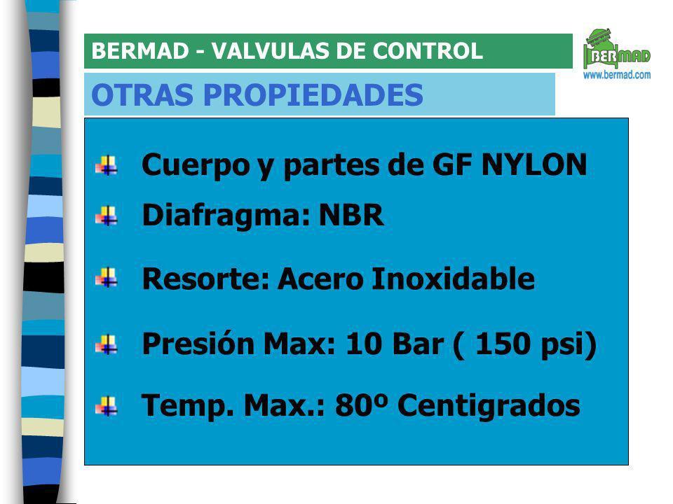 BERMAD - VALVULAS DE CONTROL OTRAS PROPIEDADES Temp.